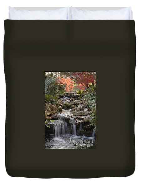 Waterfall In The Japanese Gardens, Ft. Worth, Texas Duvet Cover