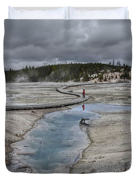 Japanese Woman With Umbrella At Norris Geyser Basin Duvet Cover by Daniel Hagerman