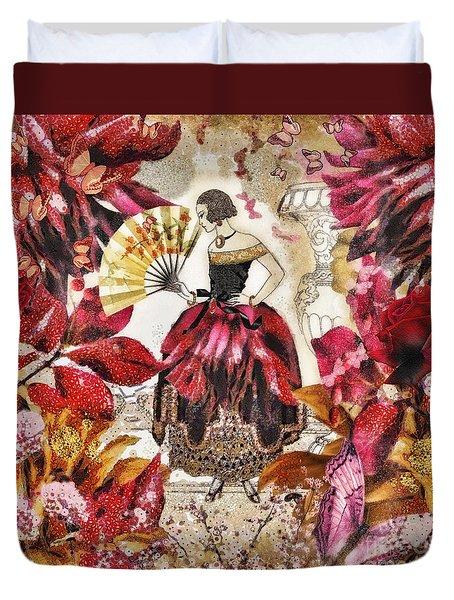 Jardin Des Papillons Duvet Cover by Mo T