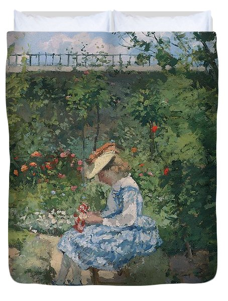 Jeanne In The Garden Duvet Cover by Camille Pissarro