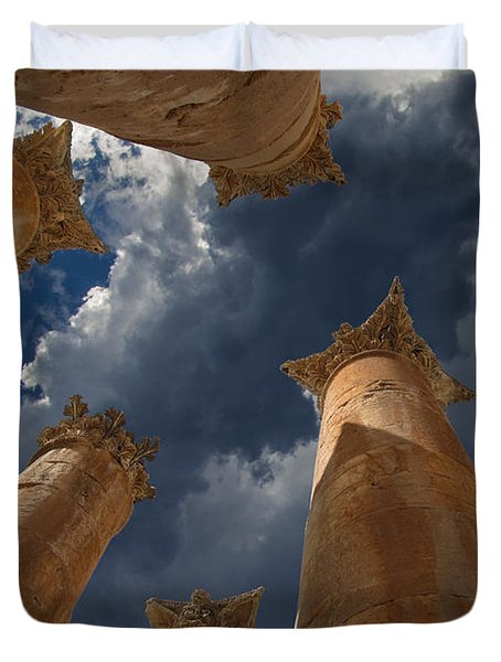 Duvet Cover featuring the photograph Jerash by David Gleeson