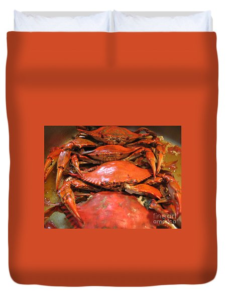 Duvet Cover featuring the photograph Crab Dinner Ocean Seafood  by Susan Carella