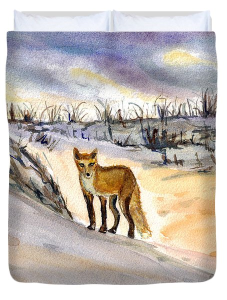 Duvet Cover featuring the painting Jersey Shore Fox by Clara Sue Beym