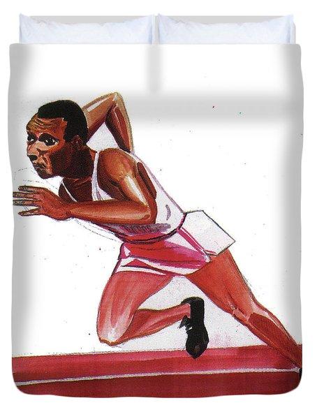 Jesse Owens Duvet Cover by Emmanuel Baliyanga
