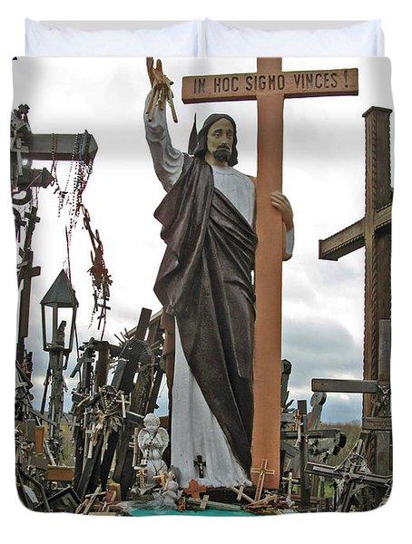 Jesus On The Hill Of Crosses. Lithuania Duvet Cover by Ausra Huntington nee Paulauskaite