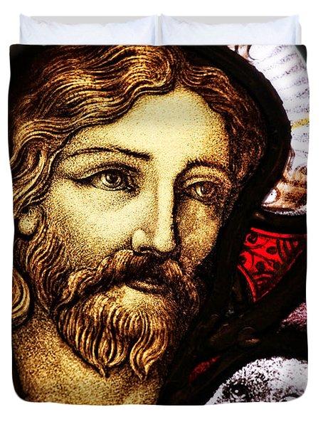 Jesus The Good Shepard Duvet Cover by Verena Matthew