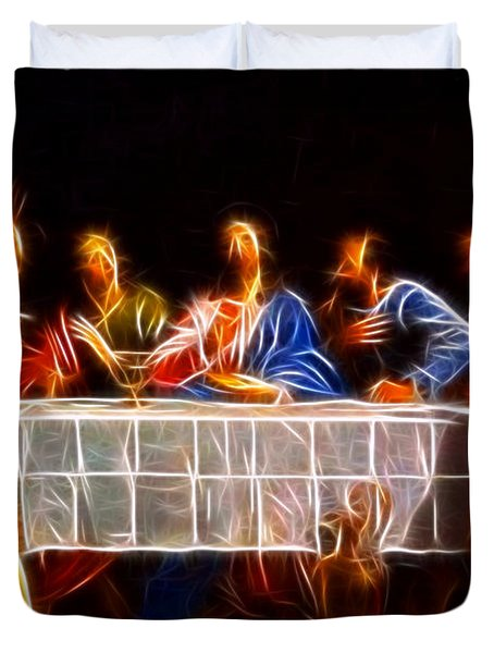 Jesus The Last Supper Duvet Cover by Pamela Johnson