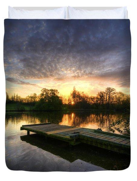 Jetty Sunrise 2.0 Duvet Cover by Yhun Suarez