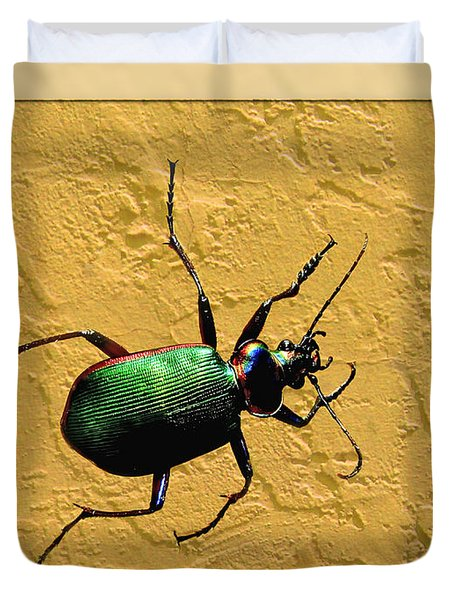 Duvet Cover featuring the photograph Jeweltone Beetle by Debbie Portwood