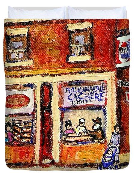 Jewish Montreal Vintage City Scenes Hutchison Street Butcher Shop  Duvet Cover by Carole Spandau