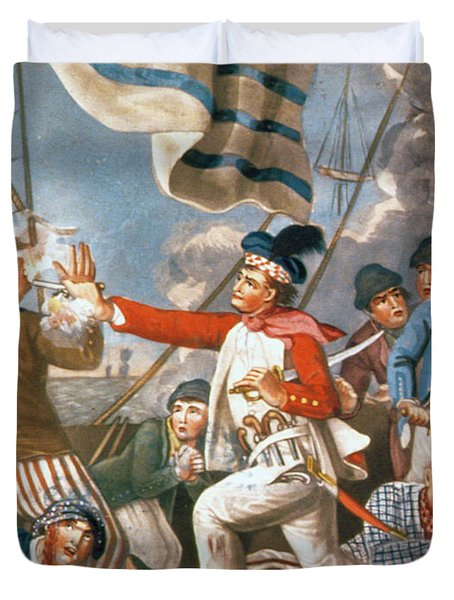 John Paul Jones Shooting A Sailor Who Had Attempted To Strike His Colours In An Engagement Duvet Cover by John Collet
