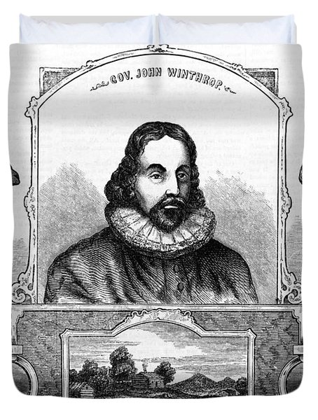 John Winthrop, English Puritan Lawyer Duvet Cover by Photo Researchers