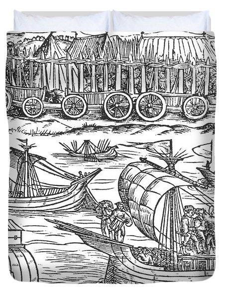 Julius Caesar Sailing The Thames 54 Bc Duvet Cover by Photo Researchers