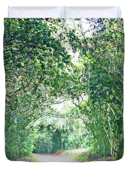 Duvet Cover featuring the photograph Jungle Drive Avery Island La by Lizi Beard-Ward