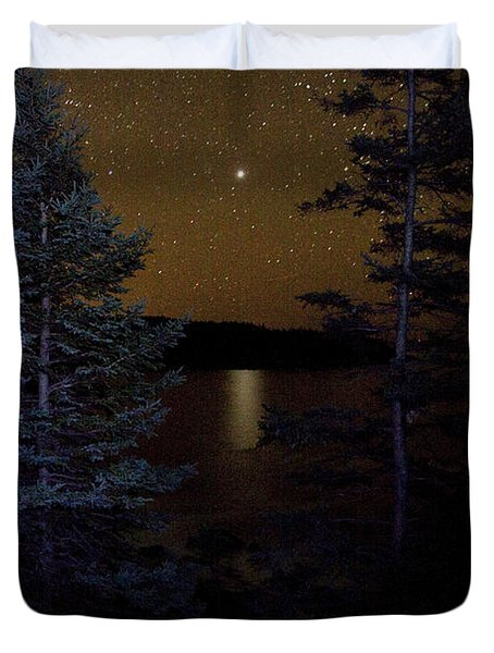 Duvet Cover featuring the photograph Jupiter Rising Over Otter Point by Brent L Ander