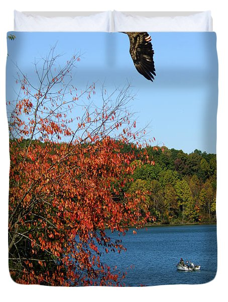 Duvet Cover featuring the photograph Juvenile And Fishermen by Randall Branham