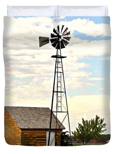 Kansas Windmill 1 Duvet Cover by Marty Koch