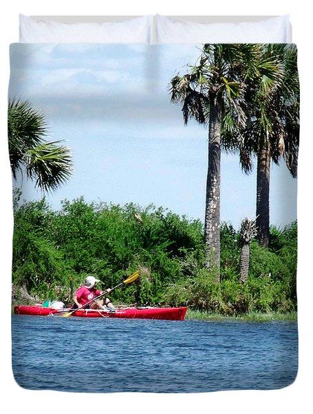 Kayaking Along The Gulf Coast Fl. Duvet Cover by Marilyn Holkham