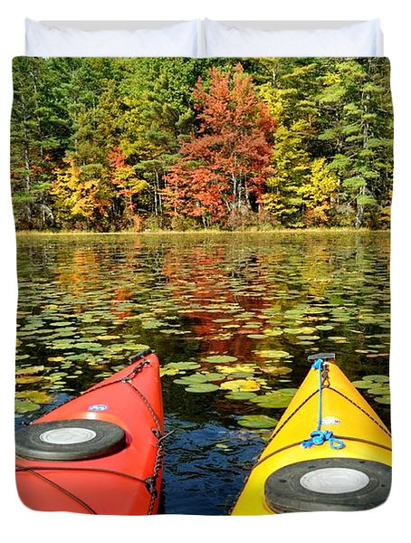 Duvet Cover featuring the photograph Kayaks In The Fall by Rick Frost