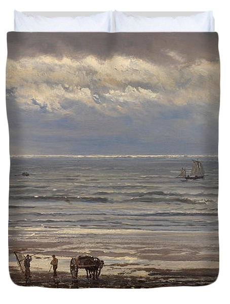Kelp Gatherers Duvet Cover by Henry Moore