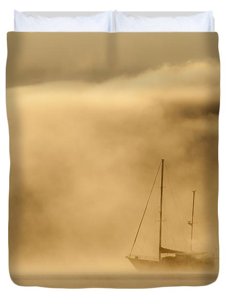 Ketch In Mist Duvet Cover by Avalon Fine Art Photography