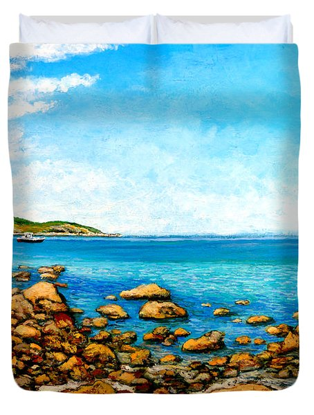 Duvet Cover featuring the painting Kettle Cove by Tom Roderick