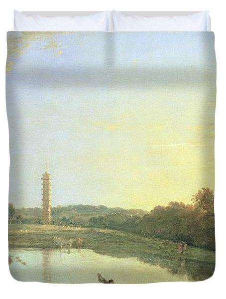 Kew Gardens - The Pagoda And Bridge Duvet Cover by Richard Wilson