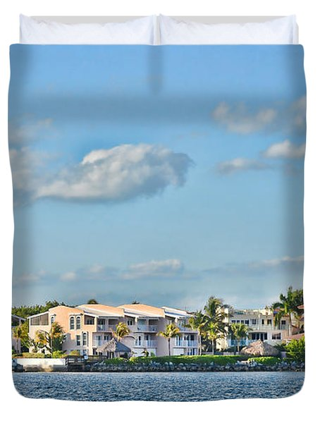 Key Largo Houses Duvet Cover by Chris Thaxter