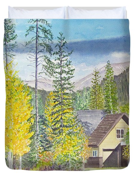 Duvet Cover featuring the painting Keystone Co by Carol Flagg