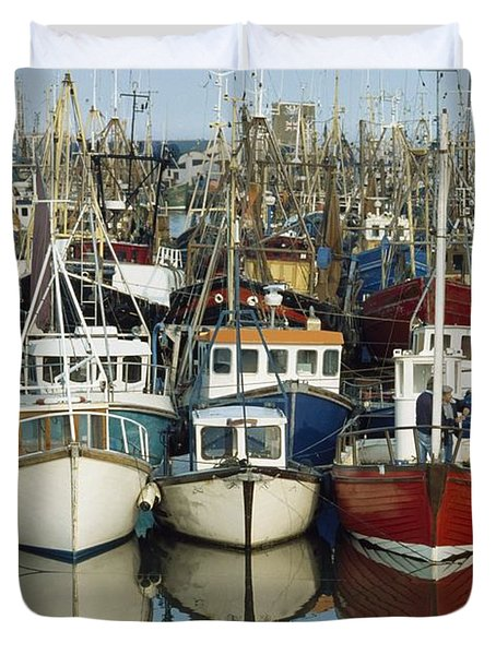 Kilkeel, Co Down, Ireland Rows Of Boats Duvet Cover by The Irish Image Collection
