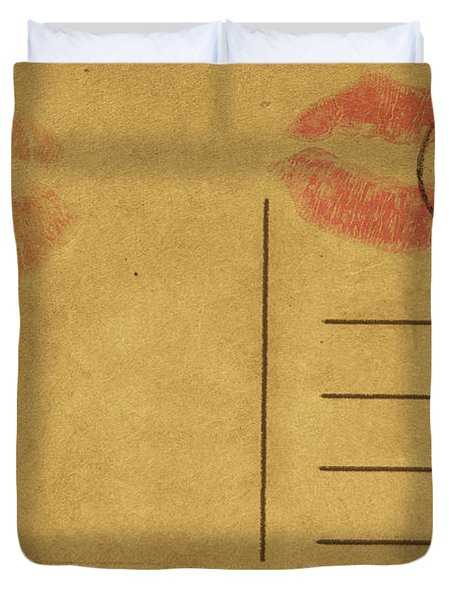 Kiss Lips On Postcard Duvet Cover by Setsiri Silapasuwanchai