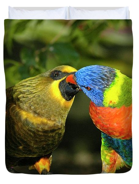 Kissing Birds Duvet Cover by Carolyn Marshall
