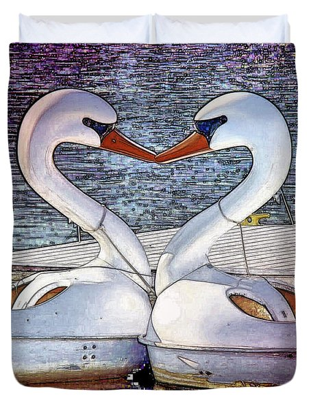 Duvet Cover featuring the photograph Kissing Swans by Alice Gipson