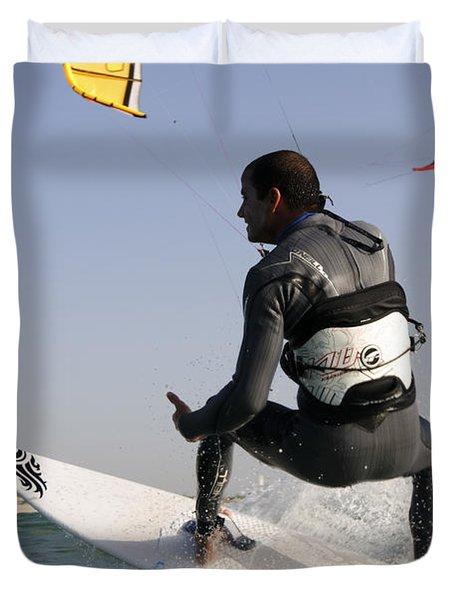Kitesurfing Board Duvet Cover by Hagai Nativ