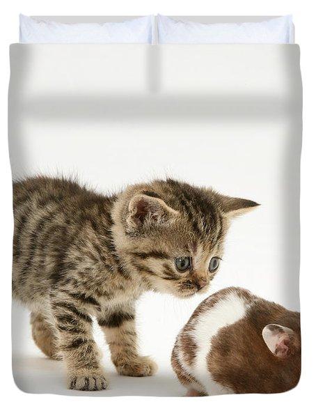 Kitten And Hamster Duvet Cover by Jane Burton