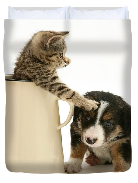 Kitten In Pot With Pup Duvet Cover by Jane Burton
