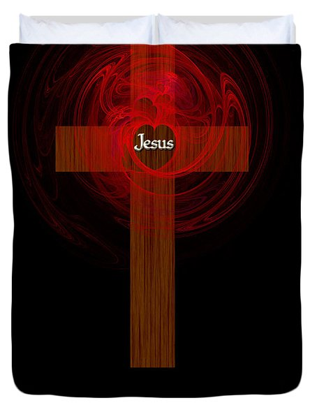 Kneel At The Cross Duvet Cover by Methune Hively