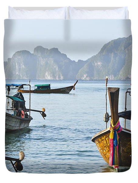 Koh Phi Phi Boats Duvet Cover