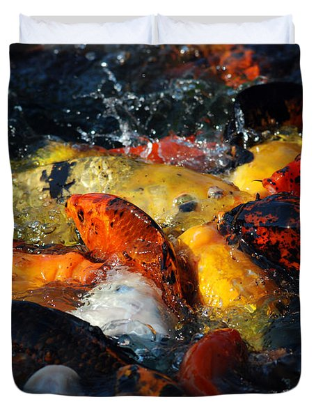 Duvet Cover featuring the photograph Koi Fish by Eva Kaufman