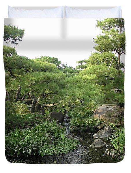 Kokoen Samurai Gardens - Himeji City Japan Duvet Cover by Daniel Hagerman