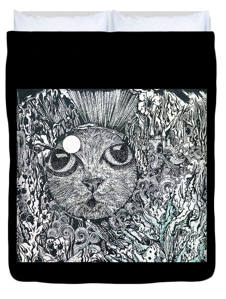 Cat In A Fish Bowl Duvet Cover