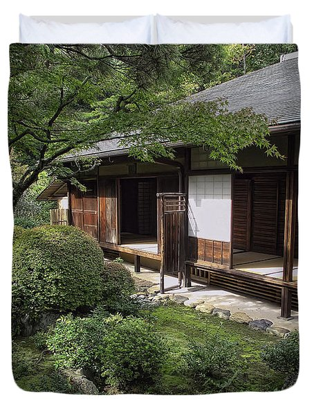 Koto-in Zen Tea House And Garden - Kyoto Japan Duvet Cover by Daniel Hagerman
