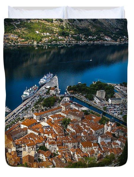 Duvet Cover featuring the photograph Kotor Montenegro by David Gleeson