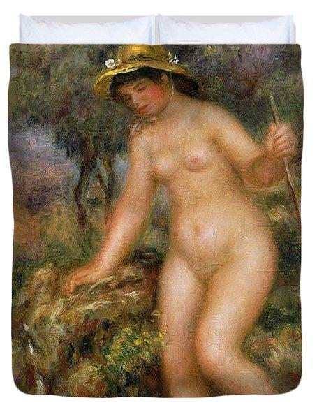 La Source Or Gabrielle Nue Duvet Cover by Pierre Auguste Renoir