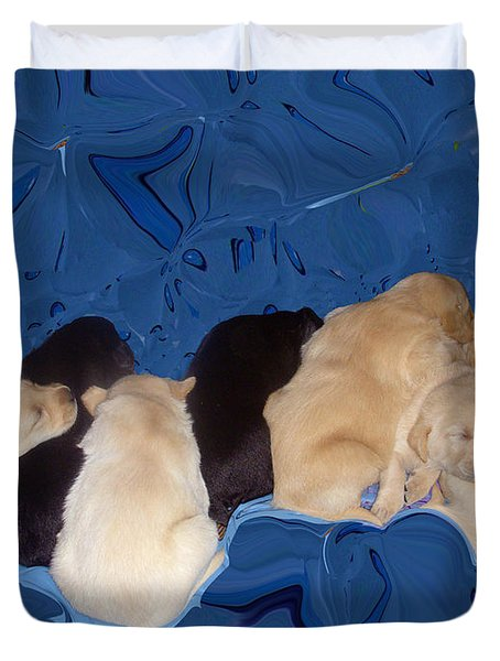 Lab Pups 1 Duvet Cover by Aimee L Maher Photography and Art Visit ALMGallerydotcom