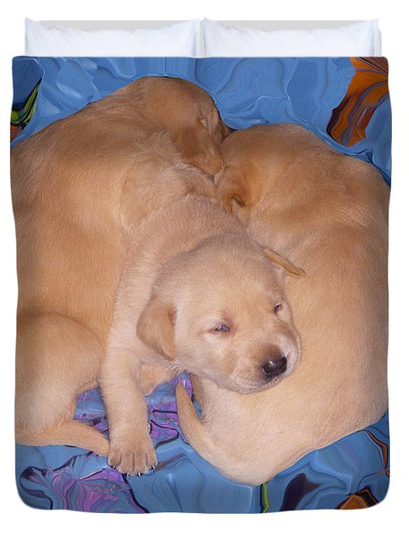 Lab Pups 2 Duvet Cover by Aimee L Maher Photography and Art Visit ALMGallerydotcom