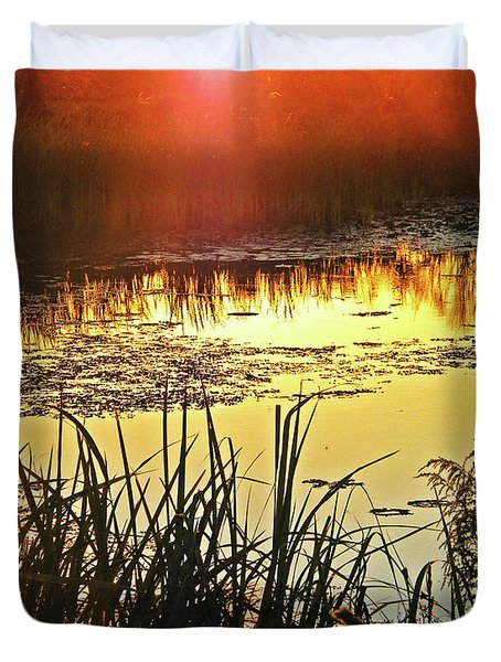 Duvet Cover featuring the photograph Lacassine Sundown by Lizi Beard-Ward