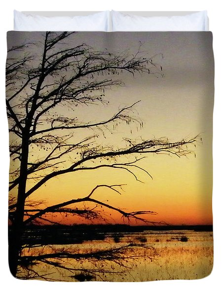 Duvet Cover featuring the photograph Lacassine Sunset by Lizi Beard-Ward