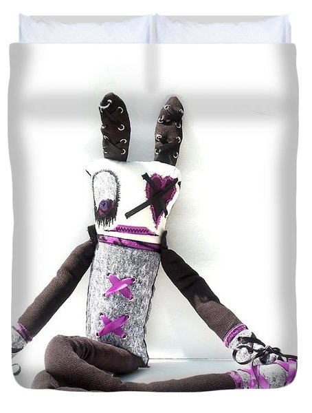 Lacey The Gothic Zombie Lolita  Duvet Cover by Oddball Art Co by Lizzy Love