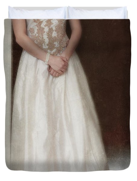 Lacy In Ecru Lace Gown Duvet Cover by Jill Battaglia